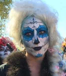 Amy Gordon at Dias de los Muertos parade in Albuquerque