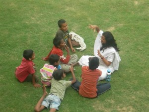 Sudha teaching children