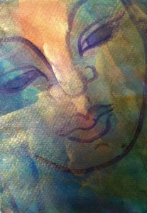 "Radiant Buddha,acrylic on paper 3""x 5"", 2012, Tejal Murray"
